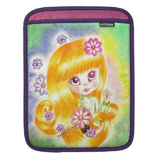 Cute Big Eye Girl with  Orange Hair and Daisies Sleeves For iPads