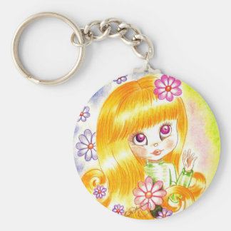 Cute Big Eye Girl with  Orange Hair and Daisies Key Chain