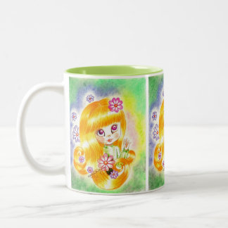 Cute Big Eye Girl with  Orange Hair and Daisies Mugs
