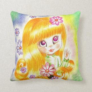 Cute Big Eye Girl with  Orange Hair and Daisies Pillow