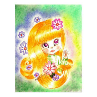 Cute Big Eye Girl with  Orange Hair and Daisies Postcard