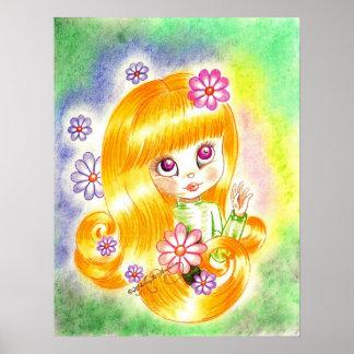 Cute Big Eye Girl with  Orange Hair and Daisies Print