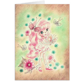 Cute Big Eye Girl with Pink hair & Butterflies Cards