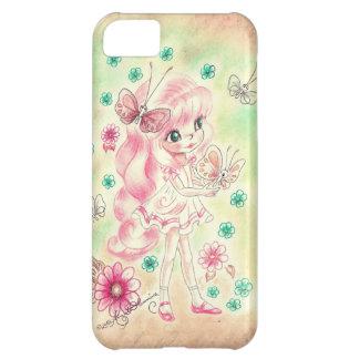 Cute Big Eye Girl with Pink hair & Butterflies iPhone 5C Case
