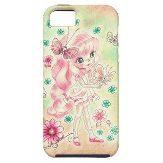 Cute Big Eye Girl with Pink hair & Butterflies iPhone 5 Case