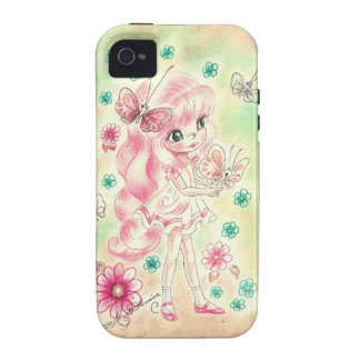 Cute Big Eye Girl with Pink hair & Butterflies iPhone 4/4S Covers