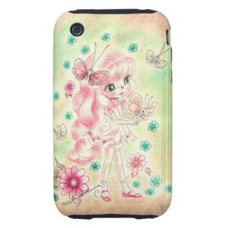 Cute Big Eye Girl with Pink hair & Butterflies Tough iPhone 3 Cover