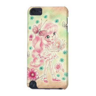Cute Big Eye Girl with Pink hair & Butterflies iPod Touch (5th Generation) Cover