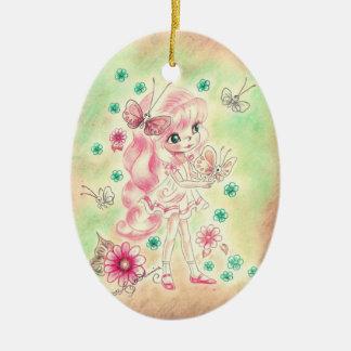 Cute Big Eye Girl with Pink hair & Butterflies Ceramic Ornament
