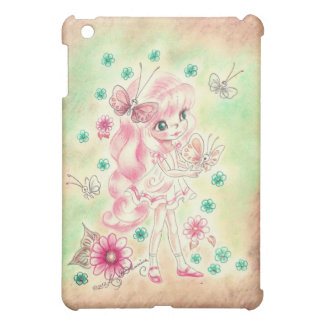 Cute Big Eye Girl with Pink hair & Butterflies Cover For The iPad Mini