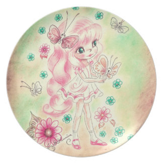 Cute Big Eye Girl with Pink hair & Butterflies Party Plates