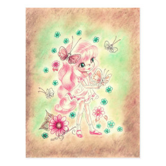 Cute Big Eye Girl with Pink hair & Butterflies Postcard