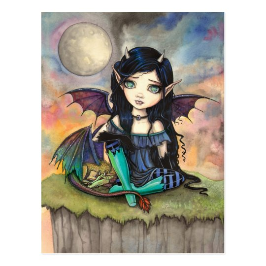Cute Big-Eye Gothic Fairy and Dragon Art Postcard