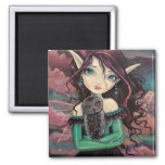 Cute Big-Eye Gothic Fairy and Owl 2 Inch Square Magnet