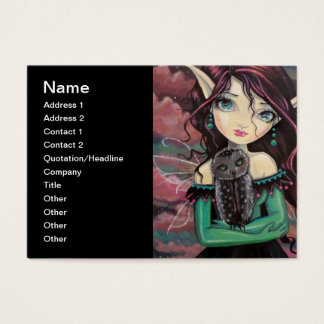 Cute Big-Eye Gothic Fairy and Owl Business Card
