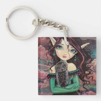 Cute Big-Eye Gothic Fairy and Owl Keychain