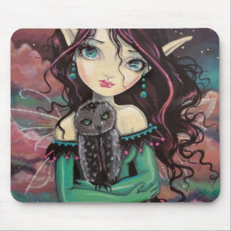 Cute Big-Eye Gothic Fairy and Owl Mouse Pad