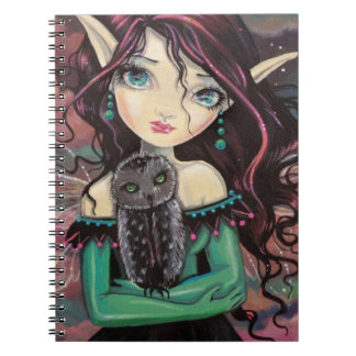Cute Big-Eye Gothic Fairy and Owl Spiral Notebook