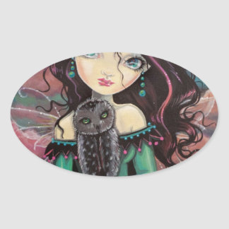 Cute Big-Eye Gothic Fairy and Owl Oval Stickers