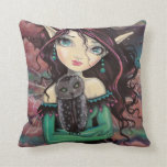 Cute Big-Eye Gothic Fairy and Owl Throw Pillow