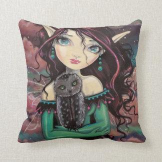 Cute Big-Eye Gothic Fairy and Owl Throw Pillow