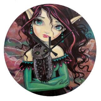 Cute Big-Eye Gothic Fairy and Owl Wall Clock