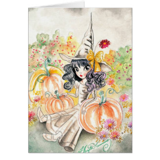 Cute Big Eye Halloween Witch in Pumpkin Patch Card