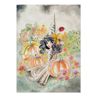 Cute Big Eye Halloween Witch in Pumpkin Patch Poster