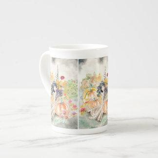 Cute Big Eye Halloween Witch in Pumpkin Patch Porcelain Mug