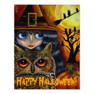 Cute Big Eye Witch Girl & Owl Whimsical Halloween Card