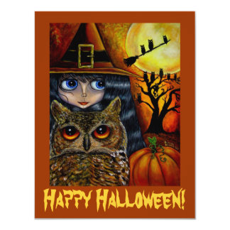Cute Big Eye Witch & Owl Whimsical Halloween Card