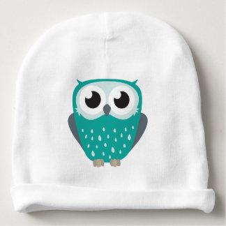 Cute Big Eyed Blue-Green Owl Baby Beanie