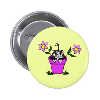 Cute Big Eyed Cartoon Cat in Flower Pot 2 Inch Round Button