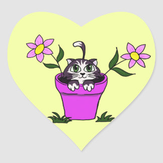 Cute Big Eyed Cartoon Cat in Flower Pot Heart Sticker