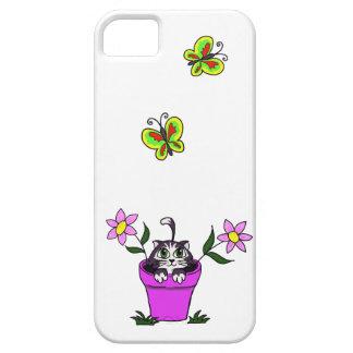 Cute Big Eyed Cartoon Cat in Flower Pot iPhone SE/5/5s Case