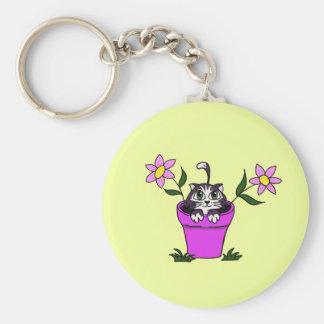 Cute Big Eyed Cartoon Cat in Flower Pot Keychain