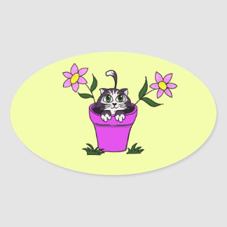 Cute Big Eyed Cartoon Cat in Flower Pot Oval Sticker