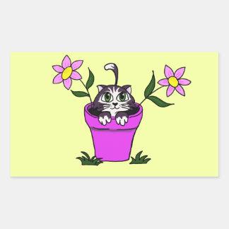 Cute Big Eyed Cartoon Cat in Flower Pot Rectangular Sticker