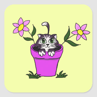 Cute Big Eyed Cartoon Cat in Flower Pot Square Sticker