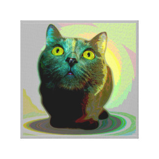 Cute Big Eyed Cat Posterized in Pastels Canvas Art