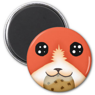 Cute Big Eyed Fox Eating A Cookie 2 Inch Round Magnet