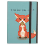 Cute Big Eyed Fox Eating A Cookie iPad Air Covers