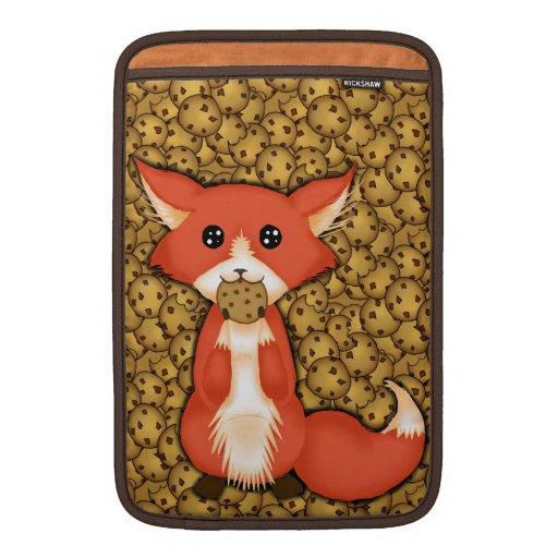 Cute Big Eyed Fox Eating A Cookie MacBook Air Sleeves
