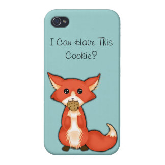Cute Big Eyed Fox Eating A Cookie Covers For iPhone 4