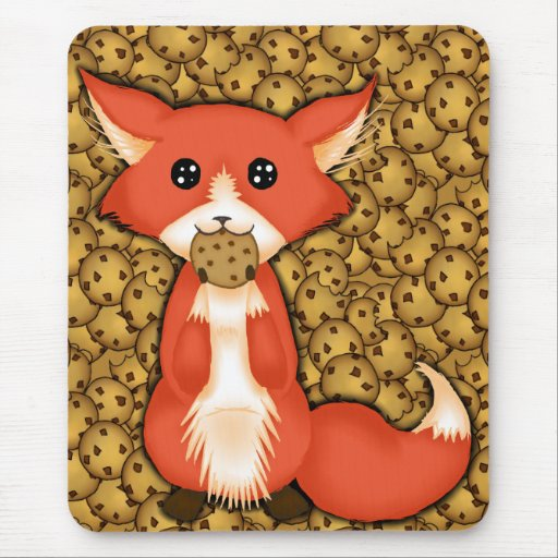 Cute Big Eyed Fox Eating A Cookie Mouse Pads