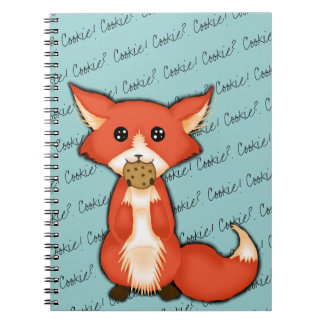 Cute Big Eyed Fox Eating A Cookie Notebooks