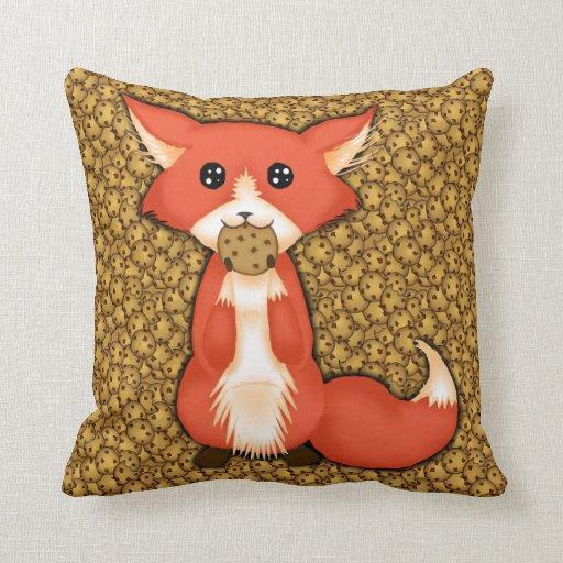 Cute Big Pillows : Cute Big Eyed Fox Eating A Cookie Pillows Zazzle