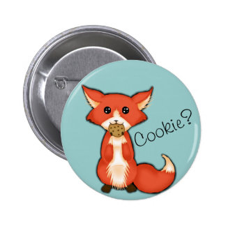 Cute Big Eyed Fox Eating A Cookie Pinback Button