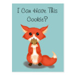 Cute Big Eyed Fox Eating A Cookie Postcards