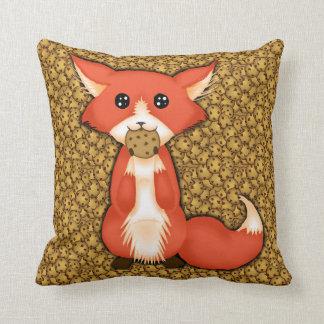 Cute Big Eyed Fox Eating A Cookie Throw Pillows